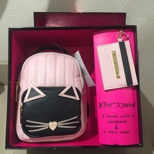 Betsey Johnson mini backpack cat purse & wallet
